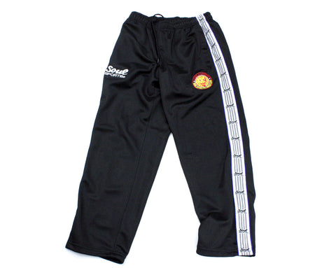 NJPW BLACK TRACK PANTS MED
