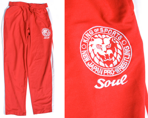 NJPW LIONMARK RED WARMUP PANTS MED
