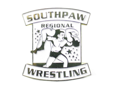 SOUTHPAW REGIONAL WRESTLING WHITE/ RAISED GOLD LOGO PIN