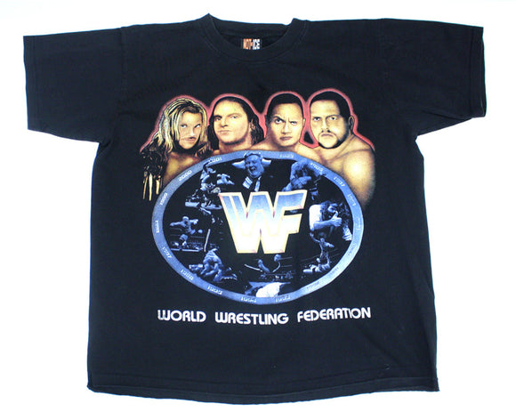 WWF ATTITUDE CARTOON FACES VINTAGE T-SHIRT L