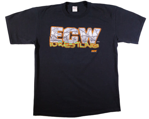 ECW ORANGE OUTLINE LOGO VINTAGE T-SHIRT