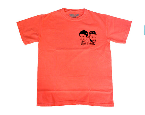 REAL FRIENDS 001 T-SHIRT [ELECTRIC ORANGE] - MEDIUM