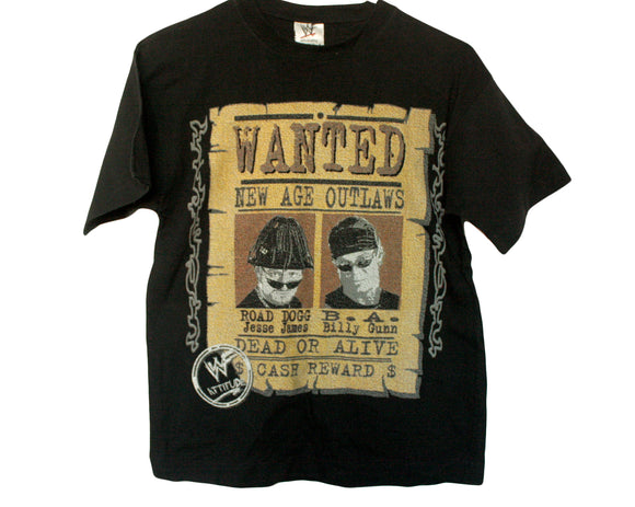 WWF NEW AGE OUTLAWS WANTED T-SHIRT SMALL / YOUTH MED