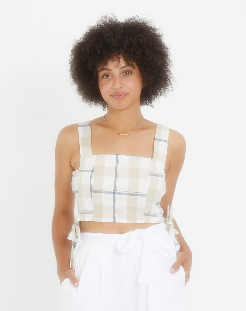 Wide Strap Crop Top With Side Tie
