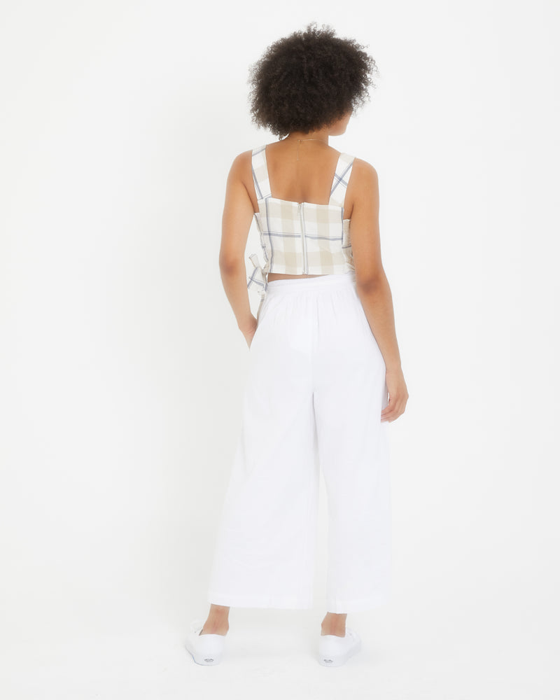Tie Waist Wide Pant in White