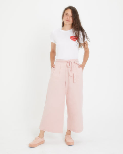 Tie Waist Wide Pant in Pink