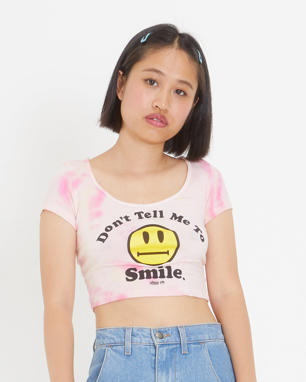 Don't Tell Me To Smile Tie-Dye Crop Tee