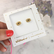 Evil Eye Gold Stud Earrings