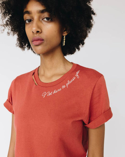 Not Here to Please You Cut Collar Tee