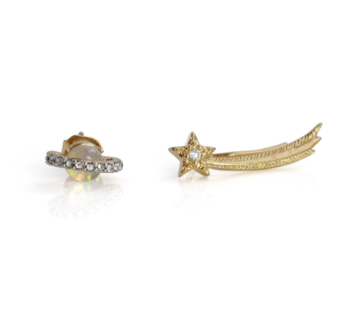 Planet & Shooting Star Asymmetrical Earrings, Gold
