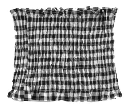 Shirred Gingham Bandeau Top