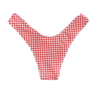 Knot Front Red Gingham Bikini Bottom