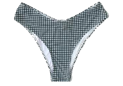 PLUS Black Gingham High Waist Bikini Bottom