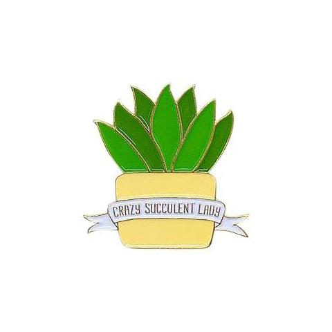 Crazy Succulent Lady Pin