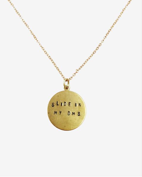 Slide In My DMs Hand-Stamped Necklace