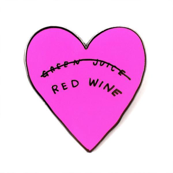 Red Wine Not Green Juice Enamel Pin