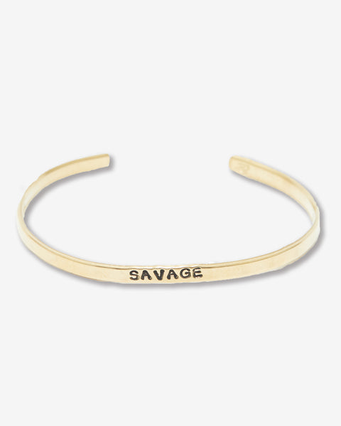 Savage Skinny Stamped Brass Cuff