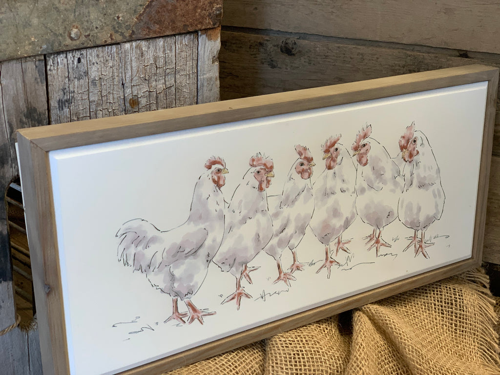 Framed Chicken Run Canvas FREE Postage