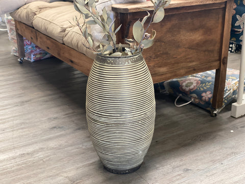 XL Ribbed TIN VASE Pot/Planter