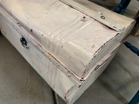 CREAM Painted Metal Vintage Trunk Chest