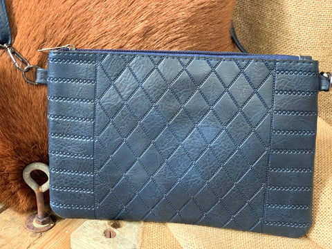 Navy Diamond Clutch with Strap