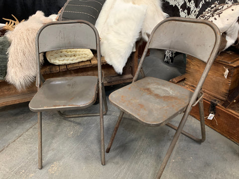 Vintage Industrial Folding Chairs Set
