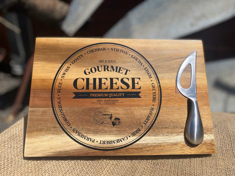 Magnetic Timber Cheese Board and Knife Gift Pack