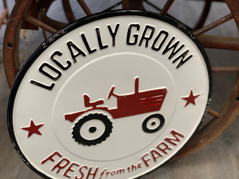 Fresh from the Farm Tractor Enamel Sign
