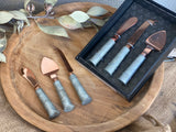 Galvanised ROSE GOLD Cheese Knife GIFT Set