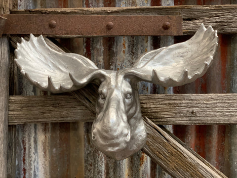 Jumbo Silver Moose Wall Decor