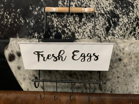 FRESH EGGS Metal Storage With Hooks