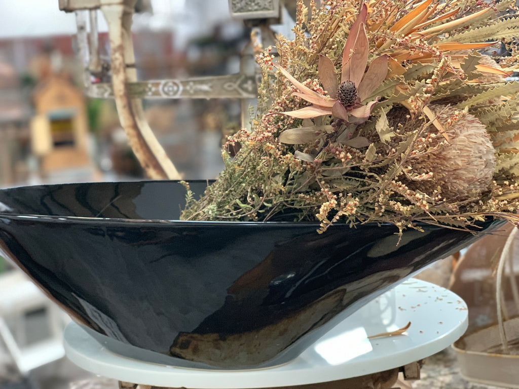 XL Black Boat Ceramic Bowl