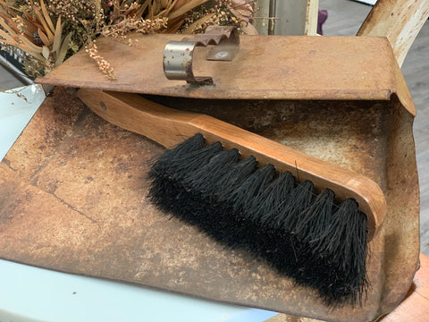 Vintage Dust Pan and NEW Timber Broome