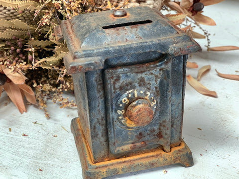 RUSTIC Cast Iron Money Box Safe