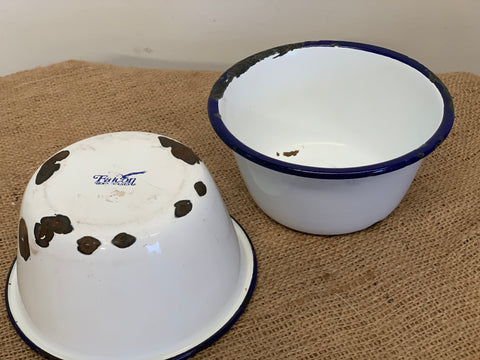 Pair of Vintage Enamel Falcon Bowls