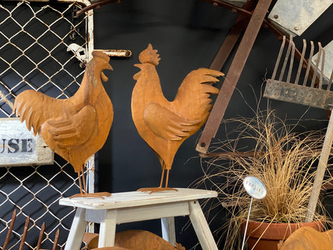 Large Rusty Rooster & Hen Set