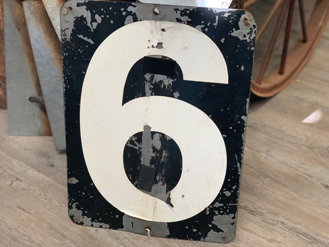 Vintage Tin Industrial reversible Sign No 6 or No 7