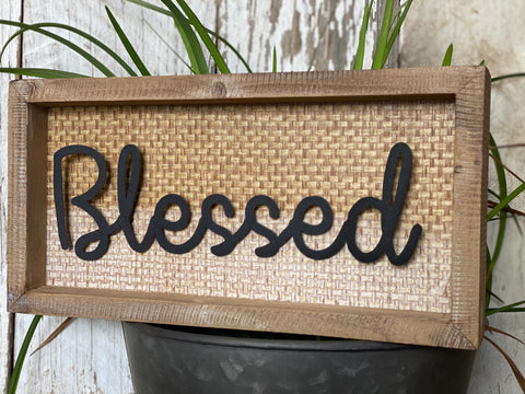 BLESSED Sign with Timber Frame FREE Postage