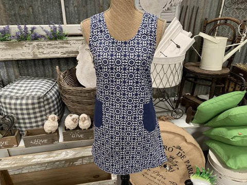 Blue Prairie Cross Back Apron