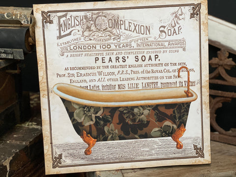 Vintage French Style Pears SOAP Tin Sign