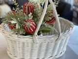 L White Rattan Carry Basket