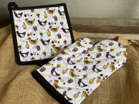 LOVE of Chickens Oven Glove and Pot Holder