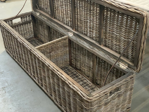 LONG Rattan Storage Bench Trunk