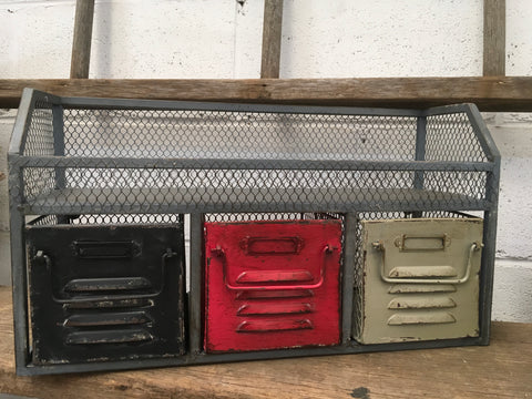 Vintage Industrial Shelf with Drawers