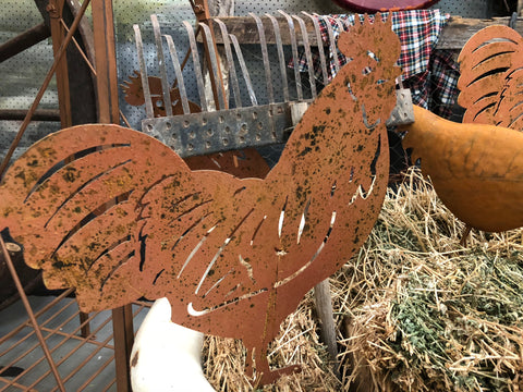 Rusty Chicken Rooster Stake