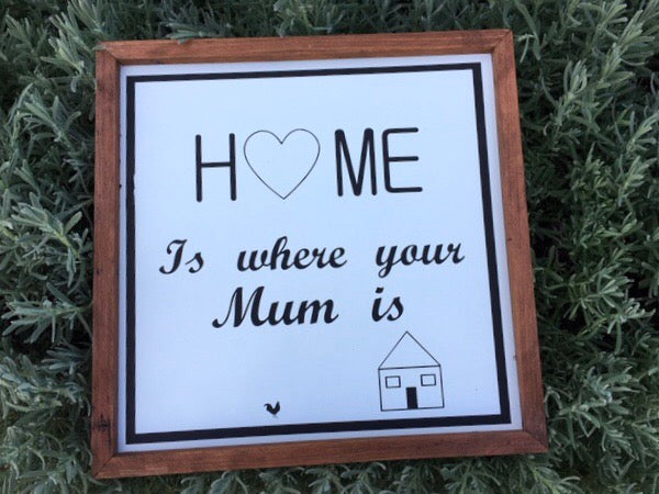 HOME is where your MUM Is Handmade Sign
