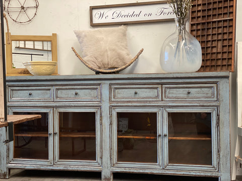 OAKDALE Farmhouse Sideboard with Glass