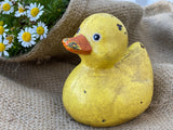 RUSTIC Cast Iron Large YELLOW DUCKY Decor PAPER WEIGHT