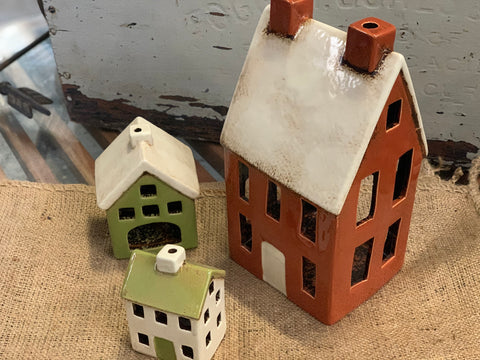 Set of 3 Ceramic Tea Light Houses