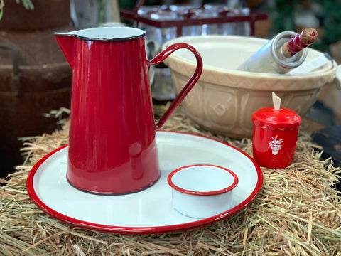 Enamel RED Rim Round Tray